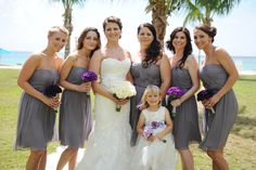 Grey and deep purple bridesmaids by aaronrebarchek.com » Caribbean Wedding Photographer in the Cayman Islands