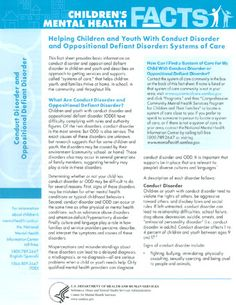 Helping Children and Youth With Conduct Disorder and Oppositional Defiant Disorder: Systems of Care Oppositional Defiance, Oppositional Defiant Disorder, Conduct Disorder, Adhd Odd, Mom So Hard, Self Advocacy, Behavior Plans, Emotional Child, Education Information