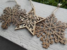 Set of Three Wood Ornaments, Laser Cut. Snowflakes & Star. Christmas, Holiday…