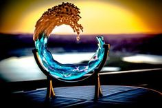 Cremation Glass Art 3D Ocean Wave Cremation Memorial Ashes InFused Glass Sculptures 5in, 8in and 10in