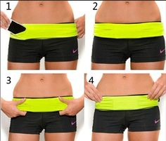 $17 4Eleven Waist Pack Running Fitness Workout Belt.  Many colors, sizes.  Spandex/Lycra belt has multi-access pocket openings throughout the belt, flip over/under to lock items in.  Machine wash/dry.  No bounce design.  Holds:  Dexcom G4 Platinum CGM, iPhones, iPods, Keys, ID's. . .