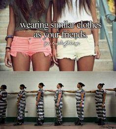 Similar clothes… slutty besties in jail