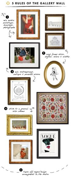 5 rules of the gallery wall | home decor | home styling | interior design | wall gallery