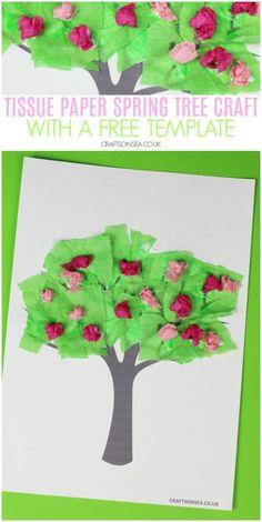 4 Easy Spring Tree Crafts for Kids - Kleinkind basteln - Spring Crafts For Kids, Paper Crafts For Kids, Easter Crafts, Art For Kids, Spring Crafts For Preschoolers, Tissue Paper Trees, Tissue Paper Crafts, Toddler Crafts, Preschool Crafts