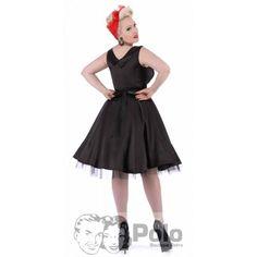 TINA vestido swing PROM escote tableado satén negro