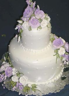 pearl cake decorations | ... To Birmingham AL's Finest Bakery! » Lilac & Pearl Wedding Cake