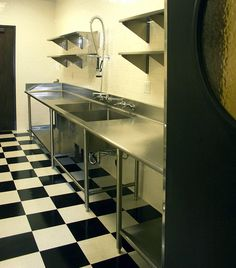 commercial kitchen. Black and White floor!
