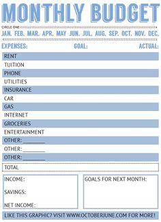 Sticking to a Budget + Free Printable Budget Worksheet - October June