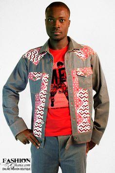 Zionland Jeans Jacket With Woodin Print - FashionGHANA.com (100% African Fashion)