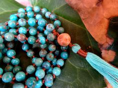 5-6mm Turquoise Knotted Mala Beads  Yoga Prayer Beads