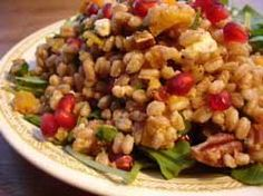 Recipe: Warm Farro Salad with Roasted Squash, Persimmons and Pecans ( for summer use halved cherry tomatoes, blanched green beans or grilled zucchini, fresh mint & goat cheese)