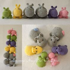 This adorable hippo family is now available as a pattern for you to enjoy. It includes the instructions for 3 sizes, the largest measuring approx 13cm in length.