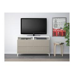 BESTÅ TV unit with drawers - white/Selsviken high-gloss/beige, drawer runner, push-open - IKEA