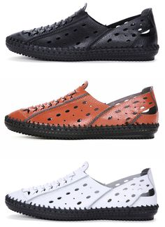 Men Stitching Hole Breathable Soft Slip On Shoes Leather Closed Toe Sandals