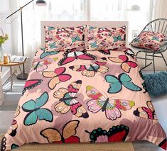 Pastel Butterfly Bedding Set Butterfly Bedding Set, Bed In A Bag, Cotton Duvet, Gifts For Teens, Clean Design, Beautiful Patterns, Duvet Cover Sets, Bedding Sets, Pillow Cases