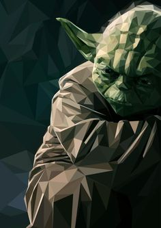 Yoda Low Poly Art Print by Little Things Star Wars Halloween, Star Wars Kids, Star Wars Art, Low Poly, Paint Chip Art, Paint Chips, Star Wars Comics, Star Wars Wallpaper, Star Wars Poster