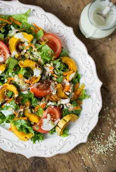 Ultra Creamy Hemp Salad Dressing (nut free, oil free) + Delicata Squash Salad via ohsheglows.com