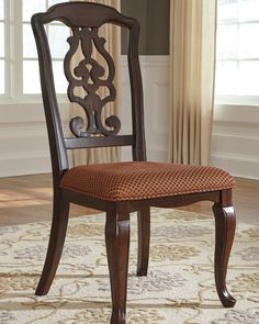 Ashley Gladdenville Dining Arm Chair Set of 2 in Cherry Brown Patterened Fabric Dining Room Server, Dining Arm Chair, Dining Room Sets, Dining Room Chairs, Dining Room Furniture, Side Chairs, Dinning Set, Lounge Chairs, Diy Chair