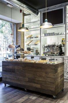 Bistro inspiration, reclaimed wood island. cafe.coffeeshop.tearoom