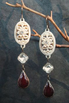 Carved Celluloid Rhinestone and Enamel Teardrop Dangle Earrings Vintage Components Assemblage