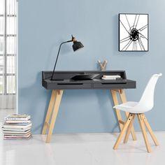 [en.casa]® Retro Schreibtisch grau Buche Computertisch Büro Tisch Konsole