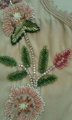 This is pretty but think its weight would drag the fabric down Zardozi Embroidery, Pearl Embroidery, Tambour Embroidery, Embroidery Fashion, Ribbon Embroidery, Bead Embroidery Tutorial, Bead Embroidery Patterns, Hand Embroidery Stitches, Hand Embroidery Designs