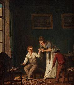 """PEHR HILLESTRÖM, """"En gåsse tälgt och skurit sig i handen och en flicka förbinder"""".  Utförd omkring år 1800. Duk 57,5 x 51 cm. Samtida förgylld och bronserad ram. 9752752 bukobject"""