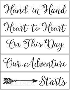 Wedding Gifts Diy Wedding STENCILS*Hand in Hand*with arrow Set of 5 stencils for Signs Pallets Wedding On A Budget, Wedding Planning Tips, Wedding Tips, Wedding Stuff, Wedding Venues, Wedding Locations, Diy Wedding Signs, Wedding Catering, Wedding Photos