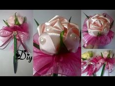 Caneta com rosa de fita de cetim e laços  Pen with satin ribbon and pink ties - YouTube