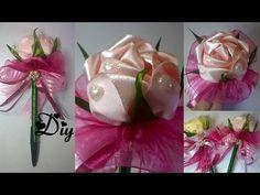 Caneta com rosa de fita de cetim e laços \ Pen with satin ribbon and pink ties - YouTube