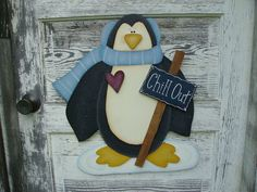 Penquin Wooden Wall Hanging ~ I love penquins...he's so darn cute how could you not?