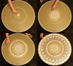 A Spinning Mosaic of Patterns Drawn with Wet Clay on a Potters Wheel performance clay ceramics