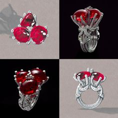 @giampierobodino Tesori Del Mare Ring in white gold and diamonds, set with three red spinels.
