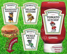 Condiment Labels Paw Patrol Digital File Instant Download Printable Marshall Skye Everest Chase Ketchup Bottle Mayo Relish Mustard #KLPP1