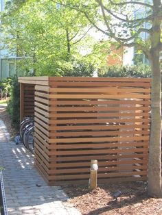 Backyard garden shed plans building a shed near a tree,plans to make a storage shed price to build a storage shed,steps to building a garden shed best backyard shed designs. Timber Slats, Wooden Slats, Bike Shed, Shed Storage, Kayak Storage, Pergola Patio, Pergola Kits, Shed Plans, Teds Woodworking