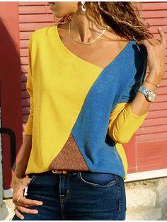 Casual Color Block Long Sleeves Cotton Polyester V-Neck T-shirt Blouses, veryvoga Blouse Jaune, Tee Shirt Rouge, T-shirt Bleu, T Shirts For Women, Clothes For Women, Casual T Shirts, Types Of Sleeves, Shirt Blouses, Tunic Shirt