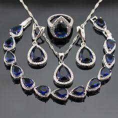 Regalo de navidad de Plata Sistemas de La Joyería Para Las Mujeres de Color Azul Creado Zafiro Blanco CZ Pendientes Pulsera Collar Colgante Anillos