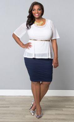 No need for blacks and beiges in the office, try our white plus size Sweet Honeycomb Top with a classic navy pencil skirt.  Add a belt to cinch the waist and accentuate the peplum silhouette.  Explore more made in the USA fashion at www.kiyonna.com.  #KiyonnaPlusYou