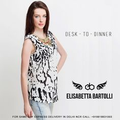 A style essential staple in the season in monochrome texture print, our luxurious crepe sleeveless top is detailed with a detatchable chain collar Necklace for sophisticated allure. Round-neck with dangling metal. sleeveless top with black back panel insert. Stylish back design. Shaped hem.@ http://www.elisabettabartolli.com/dress?utm_source=Pinterest&utm_medium=socialmedia&utm_campaign=ElisabettaBartolli