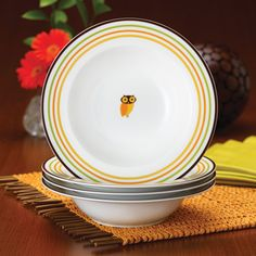 Have to have it. Rachael Ray Little Hoot Pasta Bowls - Set of 4 - $24.99 @hayneedle