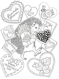 Happy Valentines Day Coloring Pages Porcupine - Fun Stuff Valentines Day Coloring Page, Valentine Day Love, Valentine Crafts, Coloring Sheets For Kids, Coloring Book Pages, Printable Coloring Pages, Free Coloring, Adulting, Color Sheets