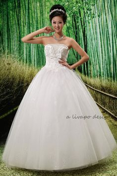 Strapless White Ball Gown Style Wedding Dress Lace Up by livapo