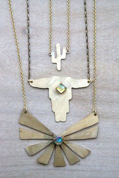 tiny brass cactus necklace southwest navajo by Blydesign on Etsy, $35.00