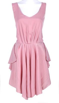 Pink Cut-out Back Bow Pleated Shift Dress #SheInside