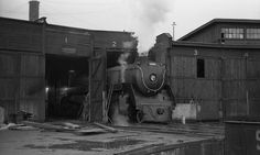Royal Hudson #2860 undergoing renovations, CPR Vancouver Davie St. Roundhouse, 1974, Vancouver, BC, Canada. Rick Home. | Flickr - Photo Sharing!