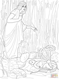 Moses Holding up His Arms During the Battle Assisted by Aaron and Hur coloring page from Exodus