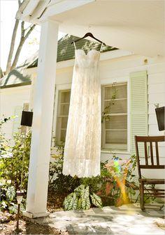 lace dress with gold trim @weddingchicks