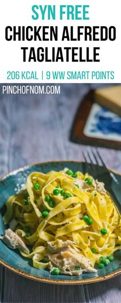 Syn Free Chicken Alfredo Tagliatelle | Pinch Of Nom Slimming World Recipes     206 kcal | Syn Free | 9 Weight Watchers Smart Points