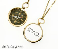 Latitude and Longitude Coordinates Compass Necklace   Community Post: 15 Travel Themed Gifts To Give Your Favorite Globetrotter