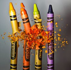Bullet going through crayons. (pretty sure.) Amazing timing, incredibly fast shutter speed :o really cool to see something like that freeze framed in the middle of the action. Looks like its just a huge explosion. Slow Motion Photography, Movement Photography, High Speed Photography, Shutter Photography, Color Photography, Macro Photography, Creative Photography, Experimental Photography, Photography Ideas